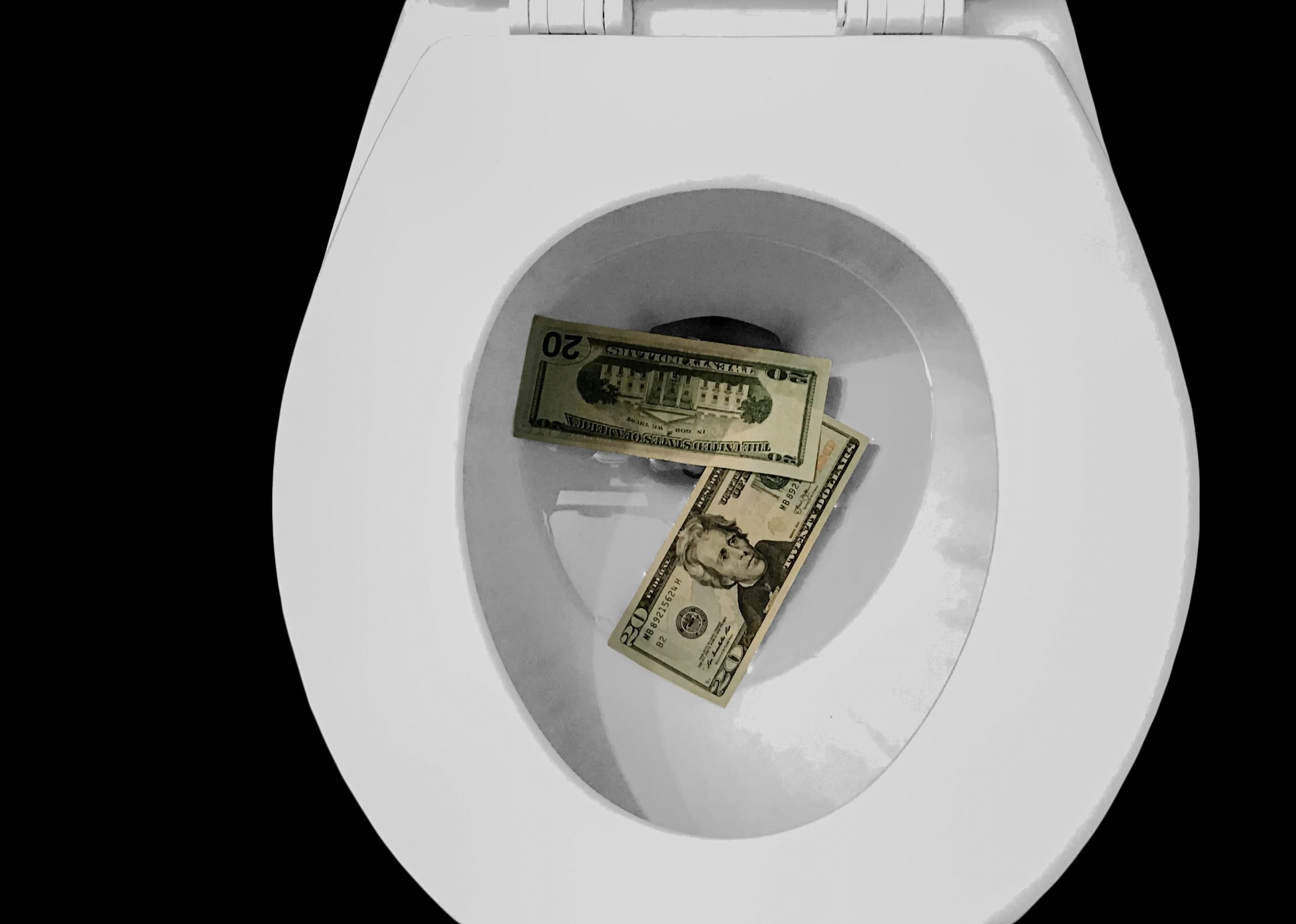 Toilet bowl with cash money in it