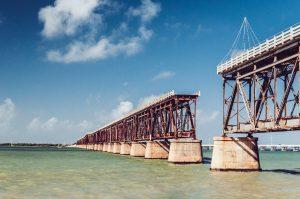 Bridge over water with gap in road