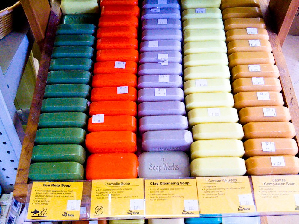 Rows of colorful soaps